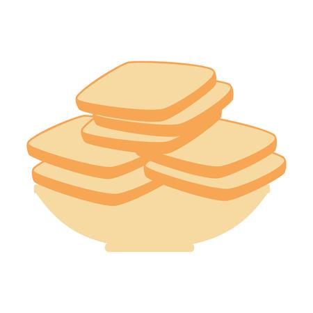 delicious breads sliced in dish vector illustration design Illustration