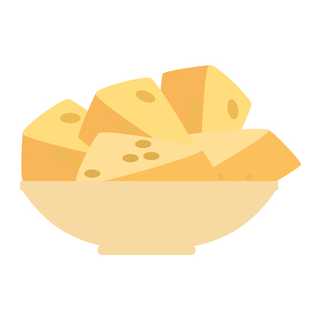 dish with cheese pieces healthy food vector illustration design Ilustração