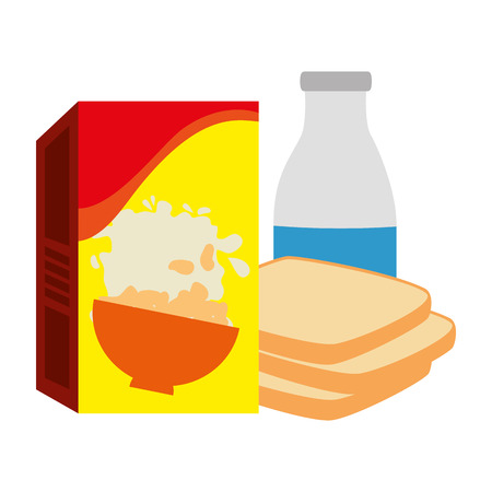 cereal box with bread and milk bottle vector illustration design Stock Illustratie