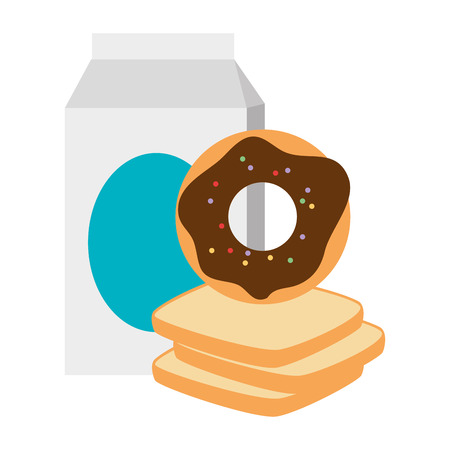 sweet donut with bread and milk vector illustration design Illustration