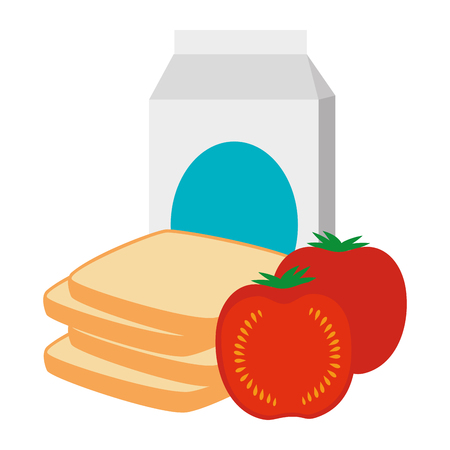 milk box with tomato and bread vector illustration design