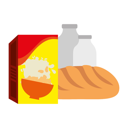 cereal box with bread and milk bottle vector illustration design Illusztráció
