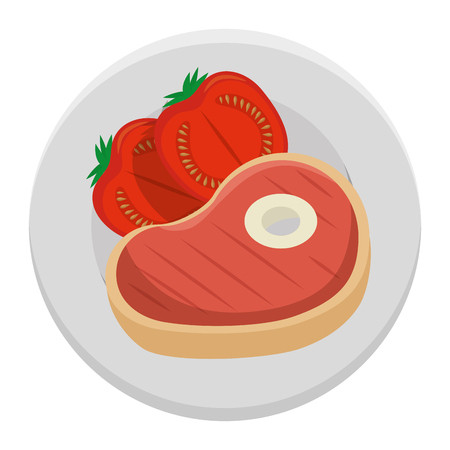 delicious beef steak with tomatoes vector illustration design Illustration