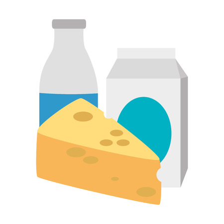 cheese piece and milk vector illustration design
