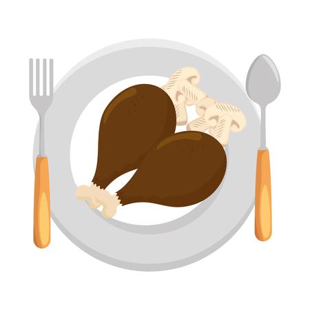 dish with drumsticks chicken and mushroom vector illustration design Foto de archivo - 103335058