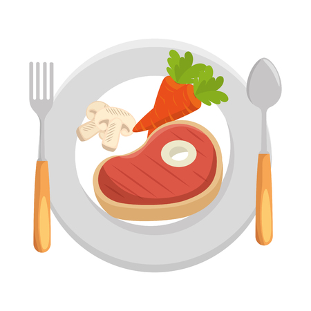 delicious beef steak with carrots and mushroom vector illustration design 向量圖像