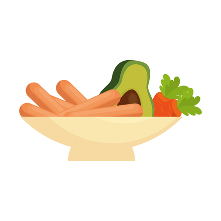delicious sausages with carrots and avocado vector illustration design Standard-Bild - 103335065