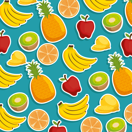 fresh fruits pattern background vector illustration design