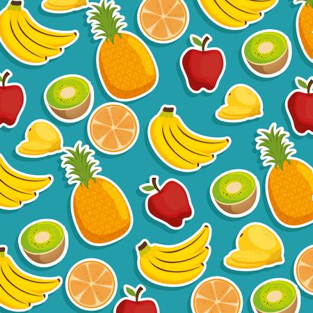 fresh fruits pattern background vector illustration design