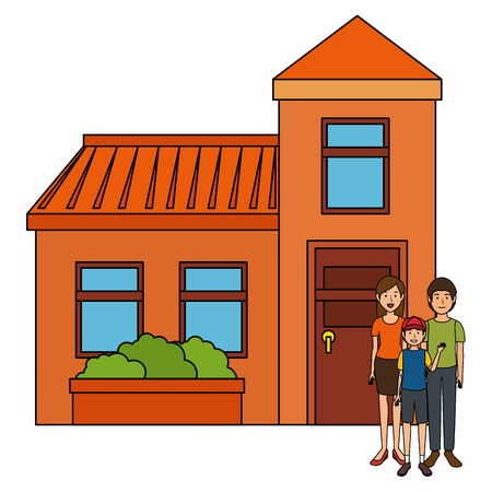 fathers and son outside the house vector illustration design