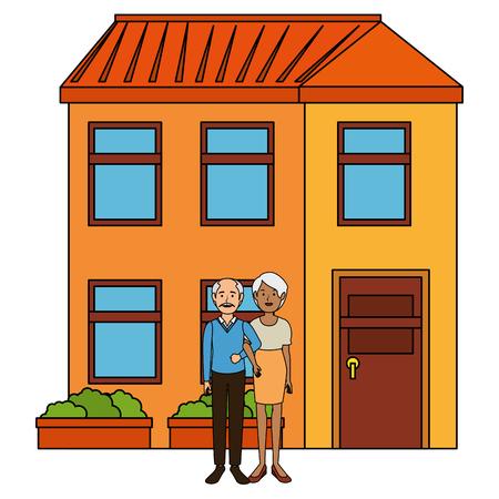 grandparents couple outside the house vector illustration design Stock Vector - 103335296