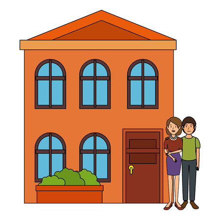 couple lovers outside the house vector illustration design 일러스트