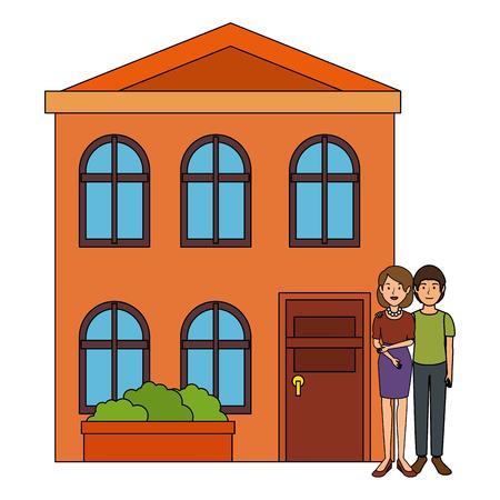 couple lovers outside the house vector illustration design Illustration