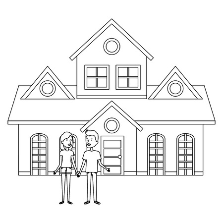 couple lovers outside the house vector illustration design Stock Vector - 103335306