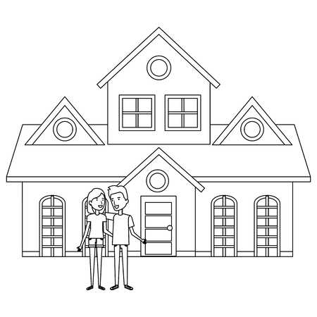 couple lovers outside the house vector illustration design Stock Vector - 103335307