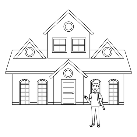 student young man outside the house vector illustration design Vectores