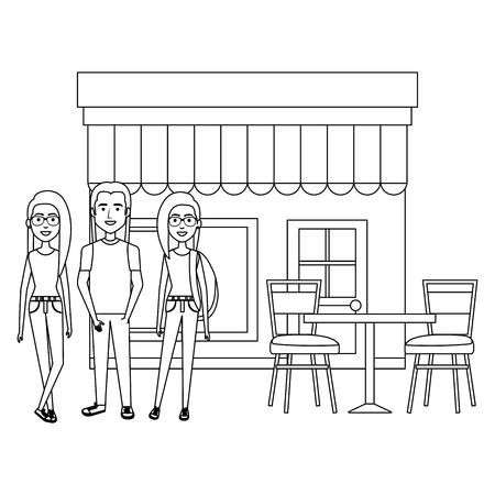 group of friends outside the restaurant vector illustration design Çizim