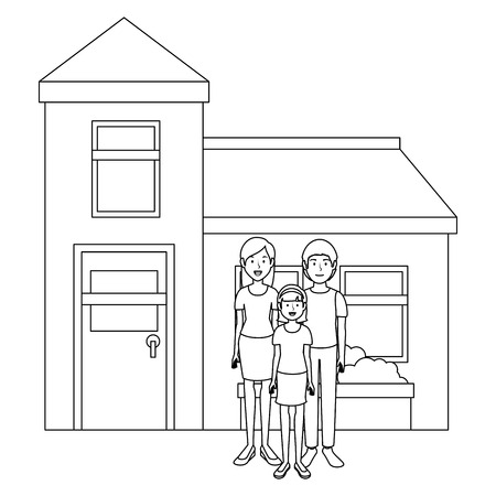 fathers and daughter outside the house vector illustration design Illustration