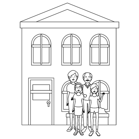 family group outside the house vector illustration design Stock Vector - 103335371