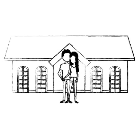 couple lovers outside the house vector illustration design Stock Vector - 103335441