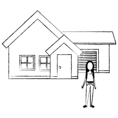 young woman outside the house vector illustration design
