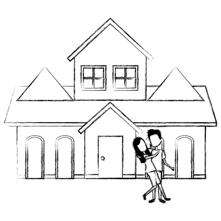 couple lovers outside the house vector illustration design Stock Vector - 103335450