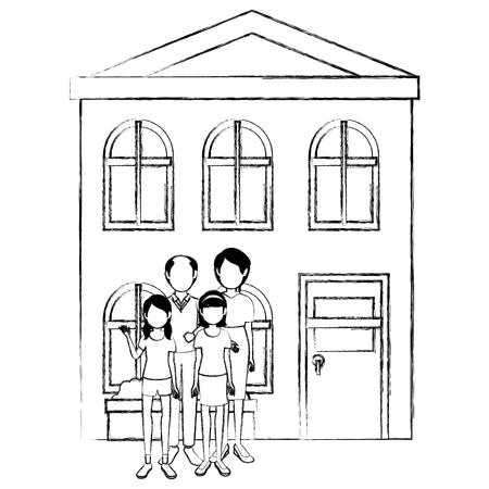 family group outside the house vector illustration design Illustration