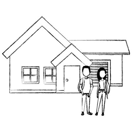 couple lovers outside the house vector illustration design Ilustração
