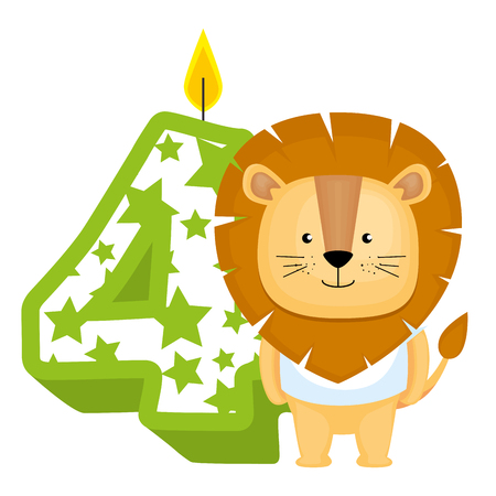 cute number four candle with lion vector illustration design Illustration