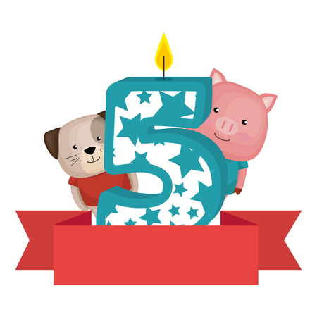 cute number five candle with dog and pig vector illustration design Stock Illustratie