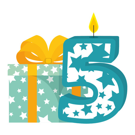 cute number five candle with gift vector illustration design