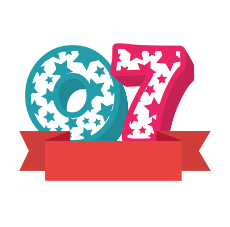 cute number seven candle with ribbon frame vector illustration design