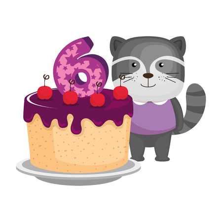 cute number six candle with cake and raccoon vector illustration design