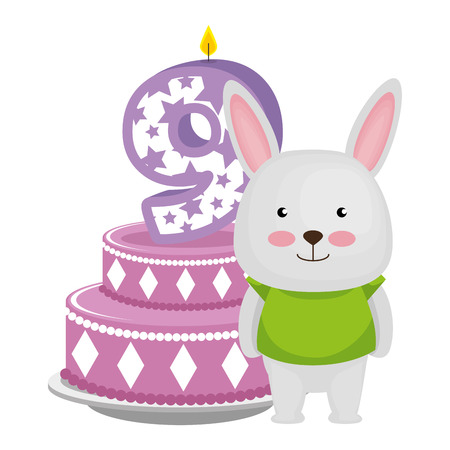 cute number nine candle with rabbit and cake vector illustration design Çizim