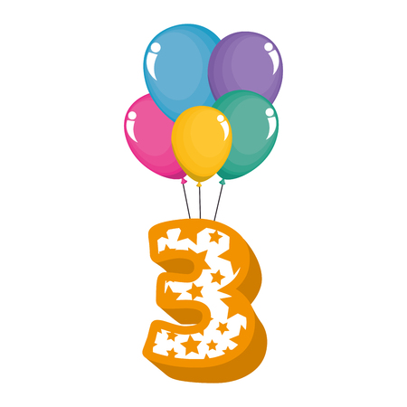 cute number three with balloons helium vector illustration design