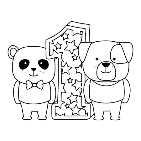 cute number one with bear panda and dog characters vector illustration design