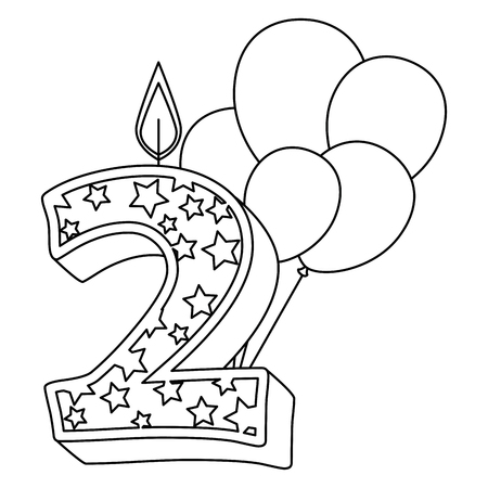cute number two candle with balloons helium vector illustration design Illustration