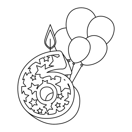 cute number six candle with balloons helium vector illustration design