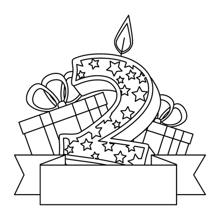 cute number two candle with gift vector illustration design