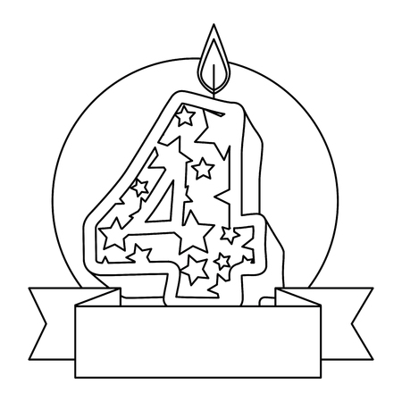 cute number four candle with ribbon frame vector illustration design