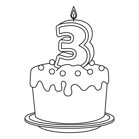 cute number three candle with sweet cake vector illustration design