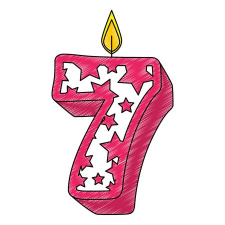 Carino numero sette candela con stelle pattern illustrazione vettoriale design Vettoriali