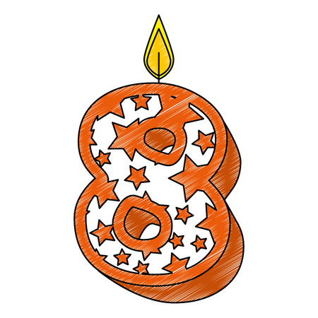 cute number eight candle with stars pattern vector illustration design Illustration