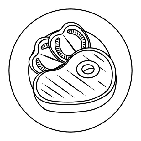delicious beef steak with tomatoes vector illustration design  イラスト・ベクター素材