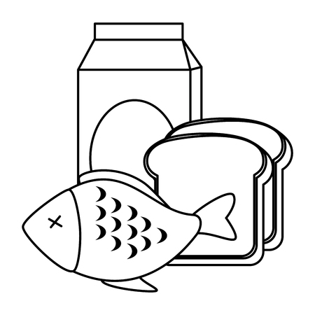 delicious fish meat with bread and milk vector illustration design