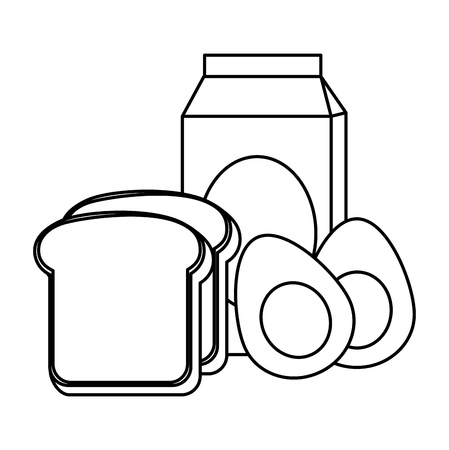 delicious boiled eggs with bread and milk vector illustration design