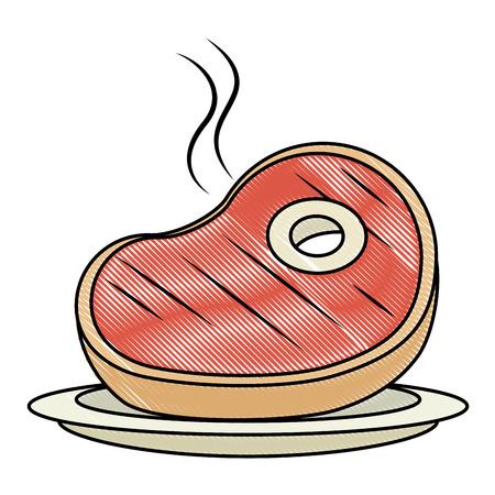 delicious beef steak cut vector illustration design