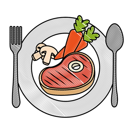 delicious beef steak with carrots and mushroom vector illustration design  イラスト・ベクター素材