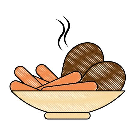 drumsticks chicken and sausages vector illustration design