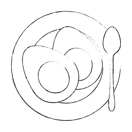 delicious boiled eggs menu vector illustration design